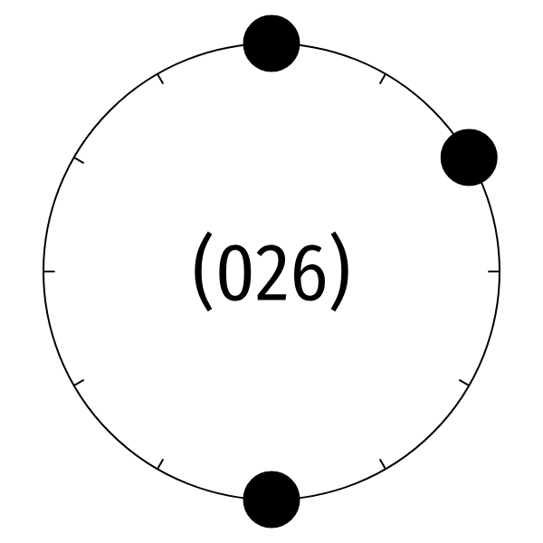 animation of black and white clock with three big black dots flipping around like a coin, then flipping back