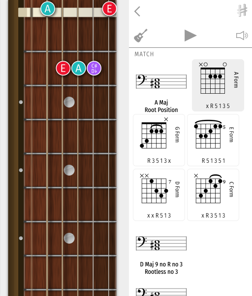 tapping each form, showing the AGEDC forms of A maj, moving up the fretboard